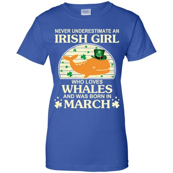 An Irish Girl Who Loves Whales And Was Born In March T-Shirts, Hoodie, Tank