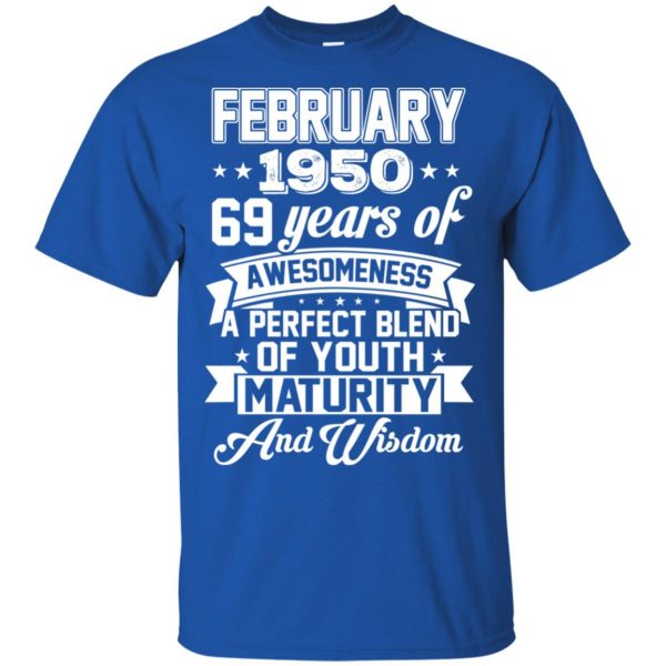 Vintage Awesome February 1950 69th Birthday Gift T-Shirts, Hoodie, Tank Apparel