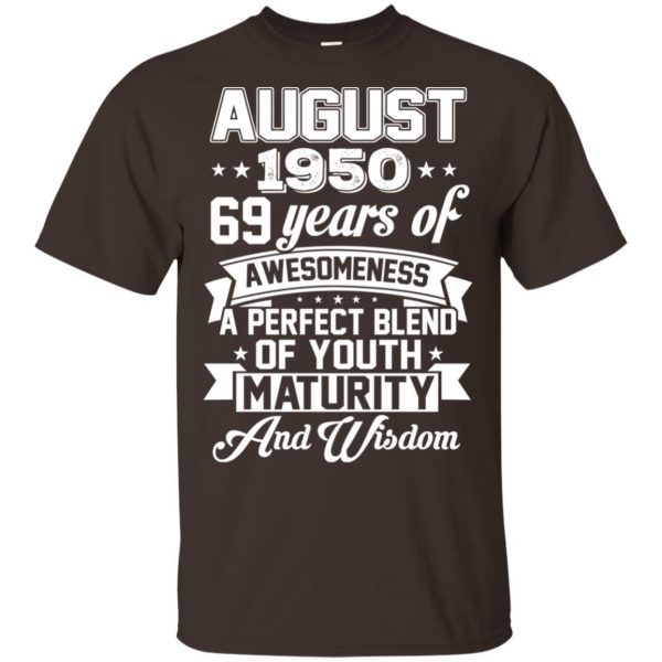 Vintage Awesome August 1950 69th Birthday Gift T-Shirts, Hoodie, Tank