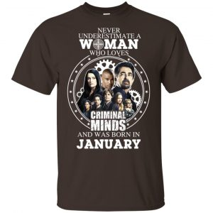 Never Underestimate A Woman Who Loves Criminal Minds And Was Born In January T-Shirts, Hoodie, Tank