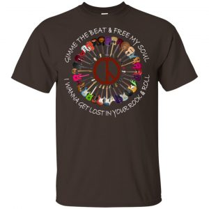 Hippie Guitar Rock Gimme The Beat And Free My Soul I Wanna Get Lost In Your Rock And Roll T-Shirts, Hoodie, Tank