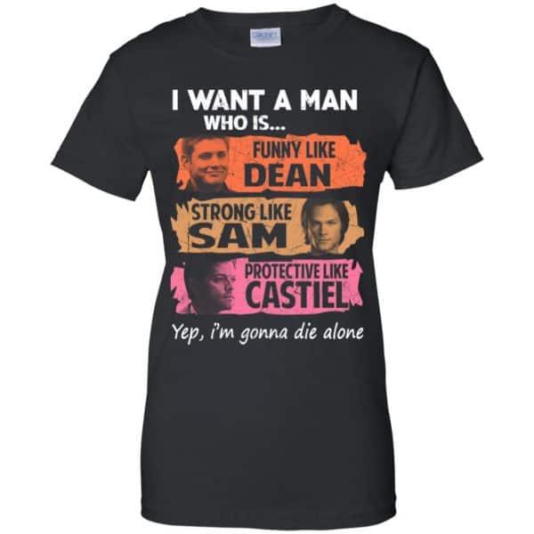 I Want A Man Who Is Funny Like Dean Strong Like Sam Protective Like Castiel Shirt, Hoodie, Tank Apparel 11