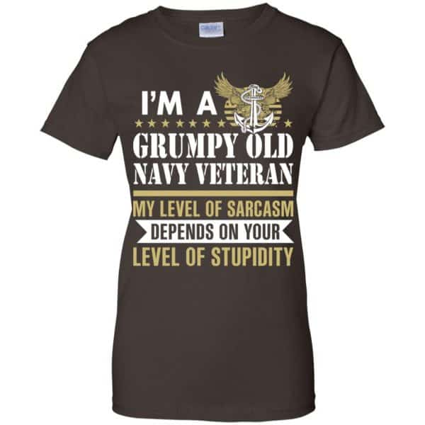 I'm A Grumpy Old Navy Veteran My Level Of Sarcasm Depends On Your Level Of Stupidity Shirt, Hoodie, Tank