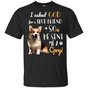 I Asked God For A True Friend So He Sent Me A Corgi Shirt, Hoodie, Tank Animals Dog Cat