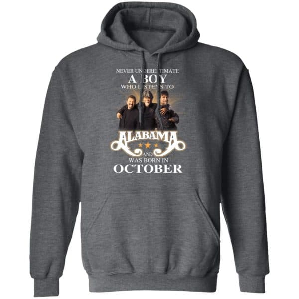 A Boy Who Listens To Alabama And Was Born In October Shirt, Hoodie, Tank Birthday Gift & Age 11
