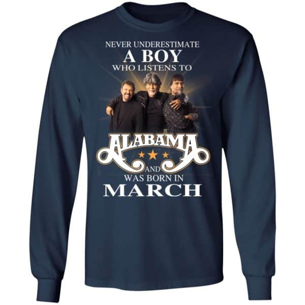 A Boy Who Listens To Alabama And Was Born In March Shirt, Hoodie, Tank Birthday Gift & Age 8