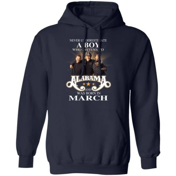 A Boy Who Listens To Alabama And Was Born In March Shirt, Hoodie, Tank Birthday Gift & Age 10