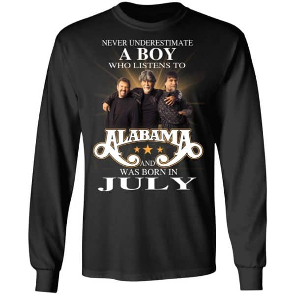 A Boy Who Listens To Alabama And Was Born In July Shirt, Hoodie, Tank Birthday Gift & Age 7