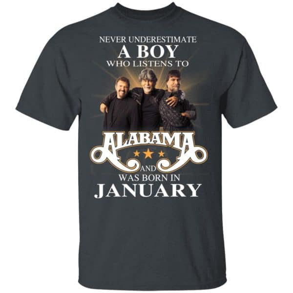 A Boy Who Listens To Alabama And Was Born In January Shirt, Hoodie, Tank Birthday Gift & Age 4
