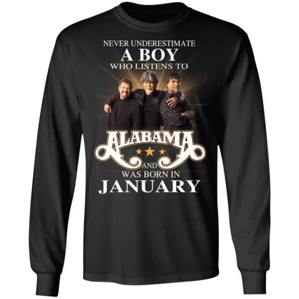 A Boy Who Listens To Alabama And Was Born In January Shirt, Hoodie, Tank Birthday Gift & Age 7