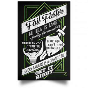 Fail Faster Black Poster