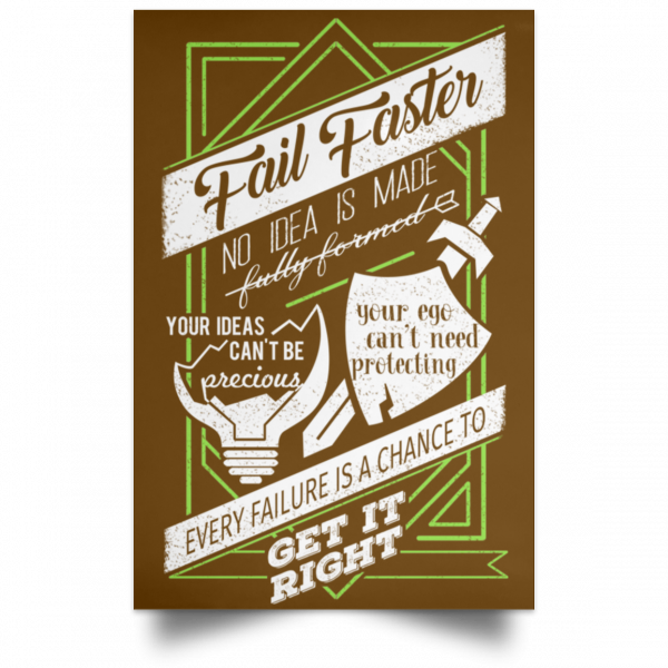 Fail Faster Black Poster Posters 4