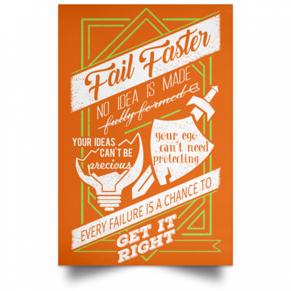 Fail Faster Black Poster Posters 5