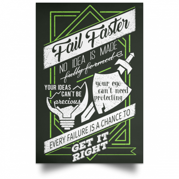 Fail Faster Black Poster Posters 7