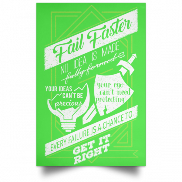 Fail Faster Black Poster Posters 9