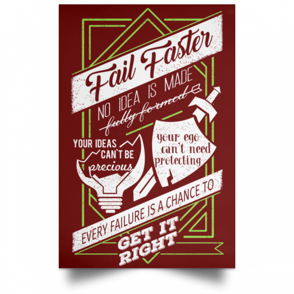 Fail Faster Black Poster Posters 10