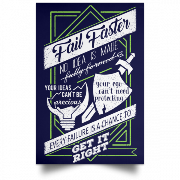 Fail Faster Black Poster Posters 11