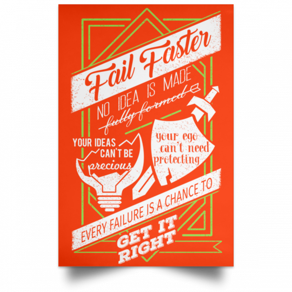 Fail Faster Black Poster Posters 13