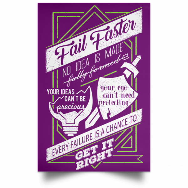 Fail Faster Black Poster Posters 14