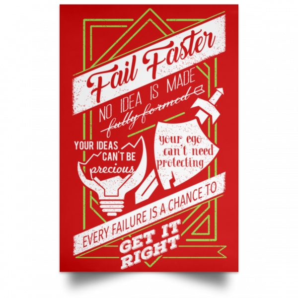 Fail Faster Black Poster Posters 15