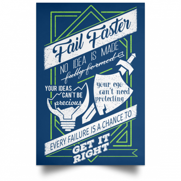 Fail Faster Black Poster Posters 16