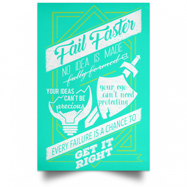 Fail Faster Black Poster Posters 18