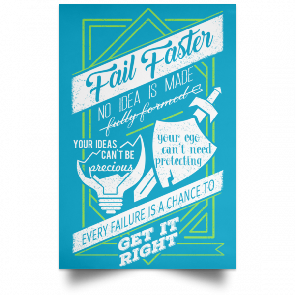 Fail Faster Black Poster Posters 19