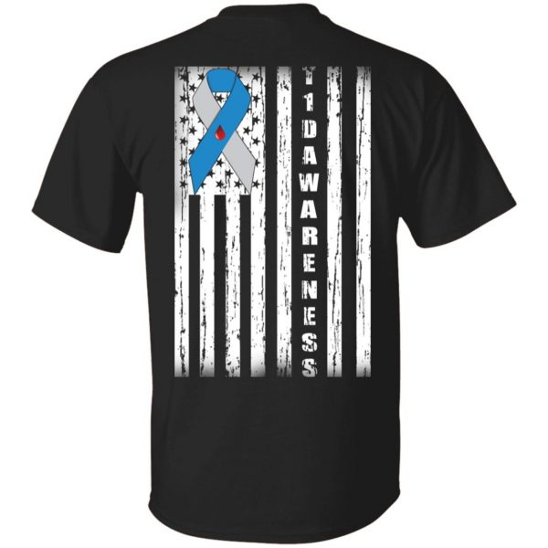 Type 1 Diabetes Awareness Support T1D Flag Ribbon Shirt, Hoodie, Tank Apparel