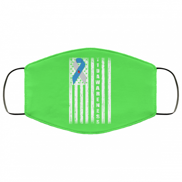 Type 1 Diabetes Awareness Support T1D Flag Ribbon Face Mask Face Mask 3
