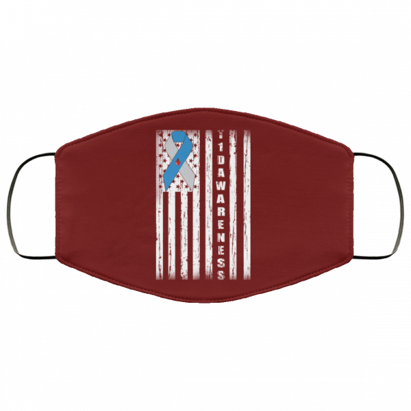 Type 1 Diabetes Awareness Support T1D Flag Ribbon Face Mask Face Mask 4
