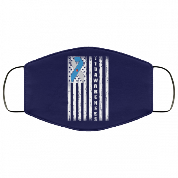 Type 1 Diabetes Awareness Support T1D Flag Ribbon Face Mask Face Mask 5