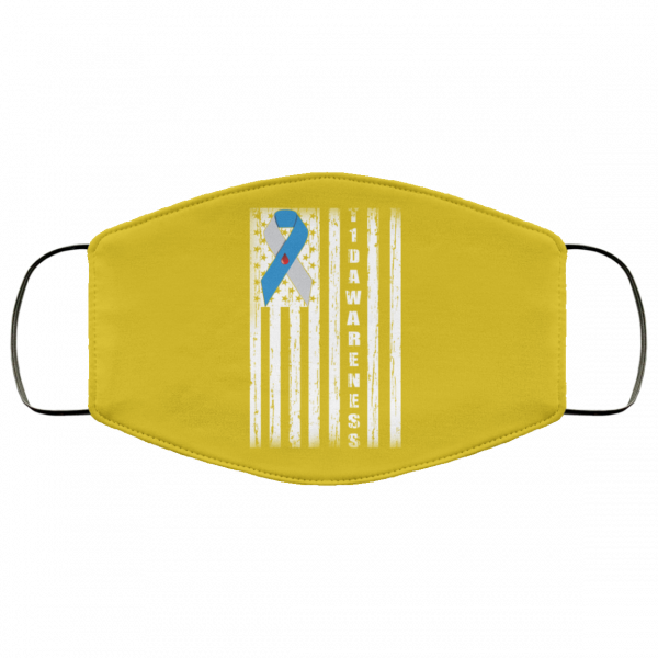 Type 1 Diabetes Awareness Support T1D Flag Ribbon Face Mask Face Mask 6