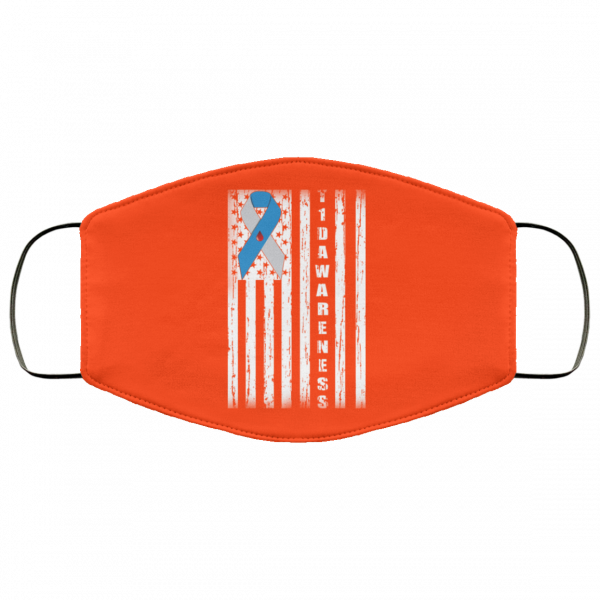 Type 1 Diabetes Awareness Support T1D Flag Ribbon Face Mask Face Mask 7