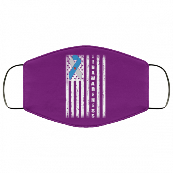 Type 1 Diabetes Awareness Support T1D Flag Ribbon Face Mask Face Mask 9