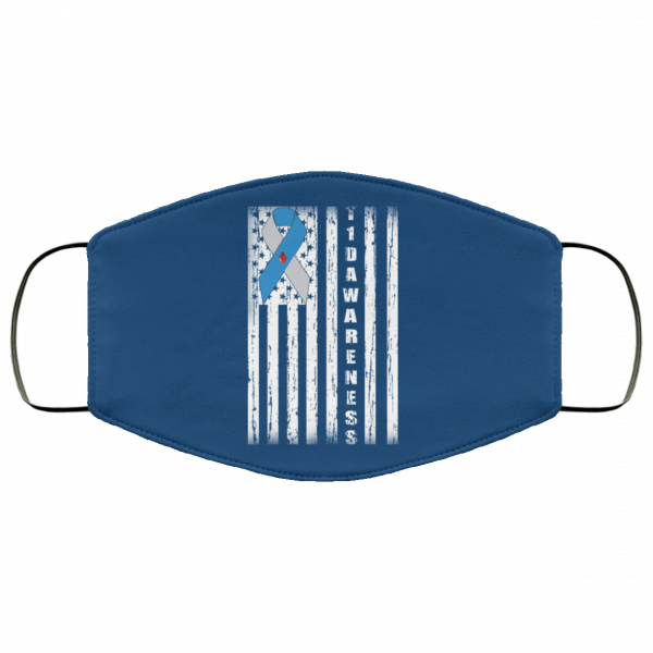 Type 1 Diabetes Awareness Support T1D Flag Ribbon Face Mask Face Mask 11