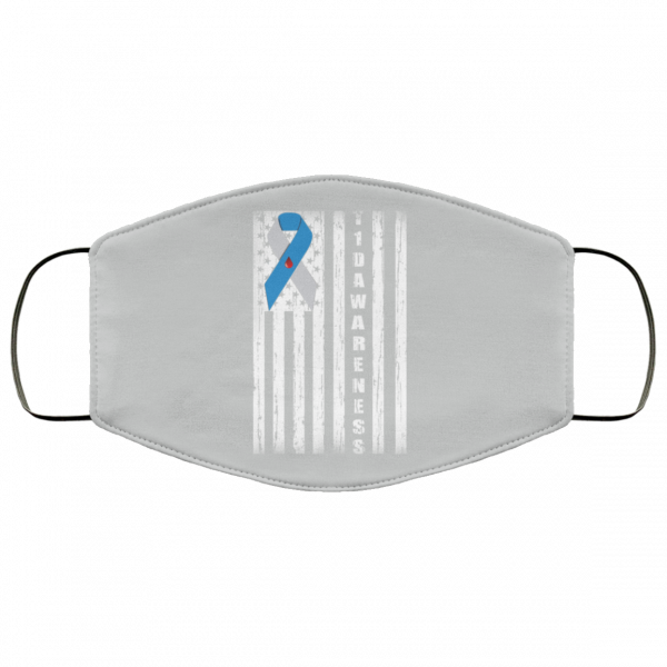 Type 1 Diabetes Awareness Support T1D Flag Ribbon Face Mask Face Mask 12