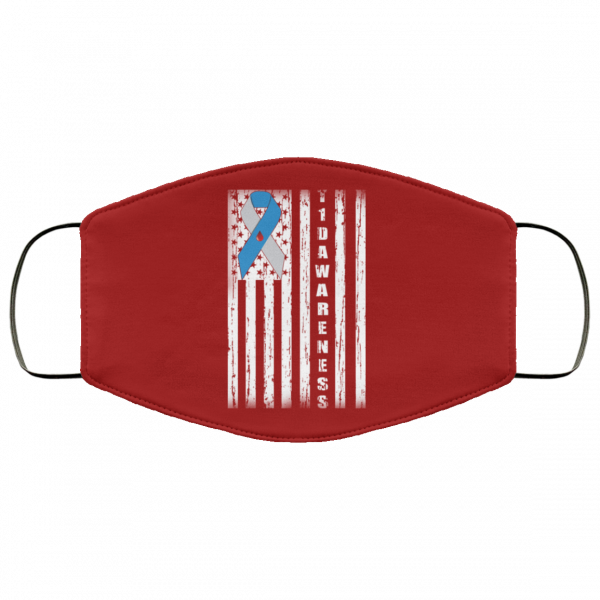 Type 1 Diabetes Awareness Support T1D Flag Ribbon Face Mask Face Mask 13