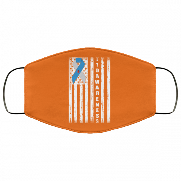 Type 1 Diabetes Awareness Support T1D Flag Ribbon Face Mask Face Mask 14