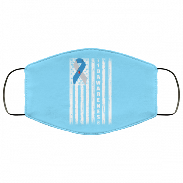 Type 1 Diabetes Awareness Support T1D Flag Ribbon Face Mask Face Mask 15