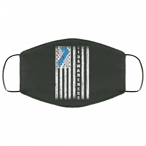 Type 1 Diabetes Awareness Support T1D Flag Ribbon Face Mask Face Mask 16