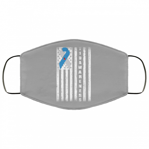 Type 1 Diabetes Awareness Support T1D Flag Ribbon Face Mask Face Mask 18