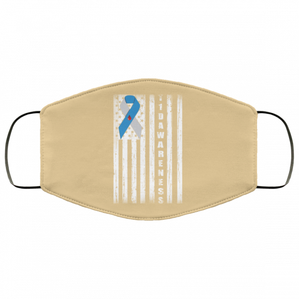 Type 1 Diabetes Awareness Support T1D Flag Ribbon Face Mask Face Mask 19