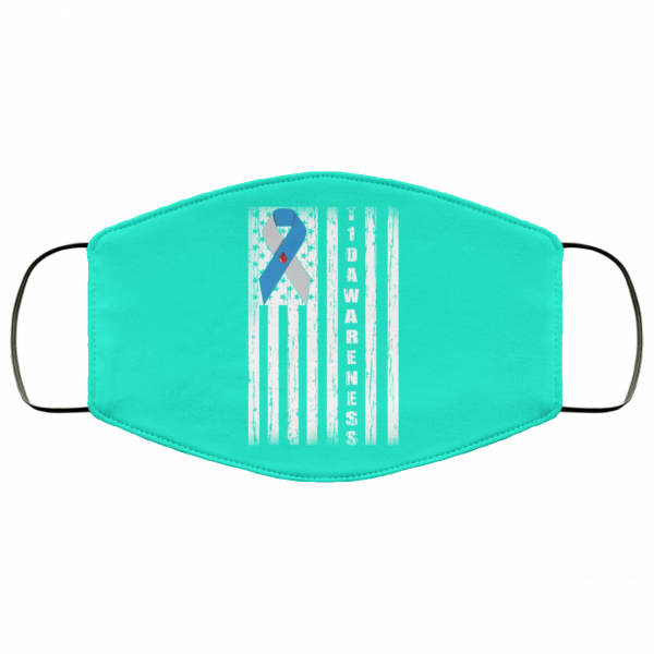 Type 1 Diabetes Awareness Support T1D Flag Ribbon Face Mask Face Mask 20