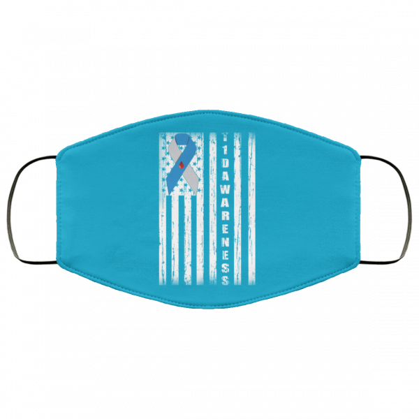 Type 1 Diabetes Awareness Support T1D Flag Ribbon Face Mask Face Mask 21