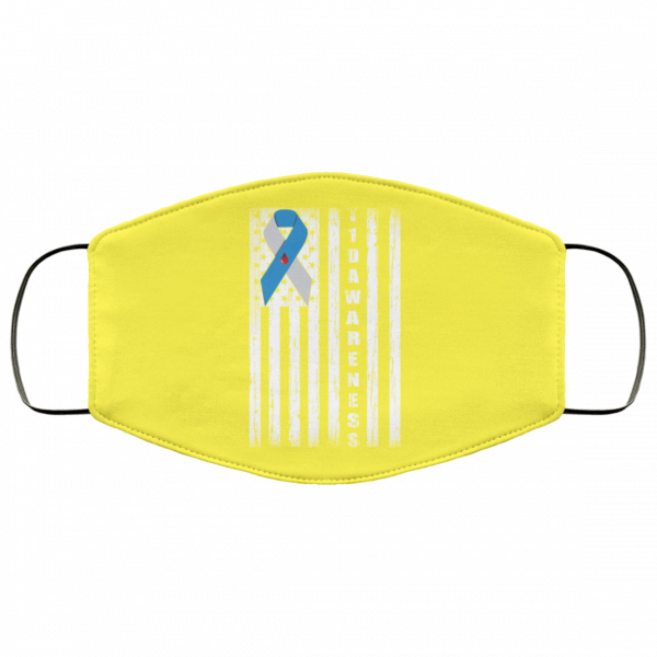 Type 1 Diabetes Awareness Support T1D Flag Ribbon Face Mask Face Mask 23