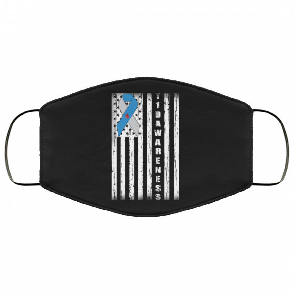 Type 1 Diabetes Awareness Support T1D Flag Ribbon Face Mask Face Mask 24