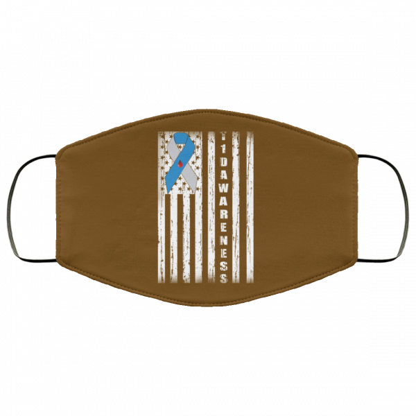 Type 1 Diabetes Awareness Support T1D Flag Ribbon Face Mask Face Mask 25