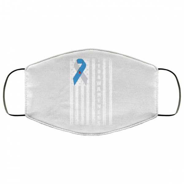 Type 1 Diabetes Awareness Support T1D Flag Ribbon Face Mask Face Mask 26