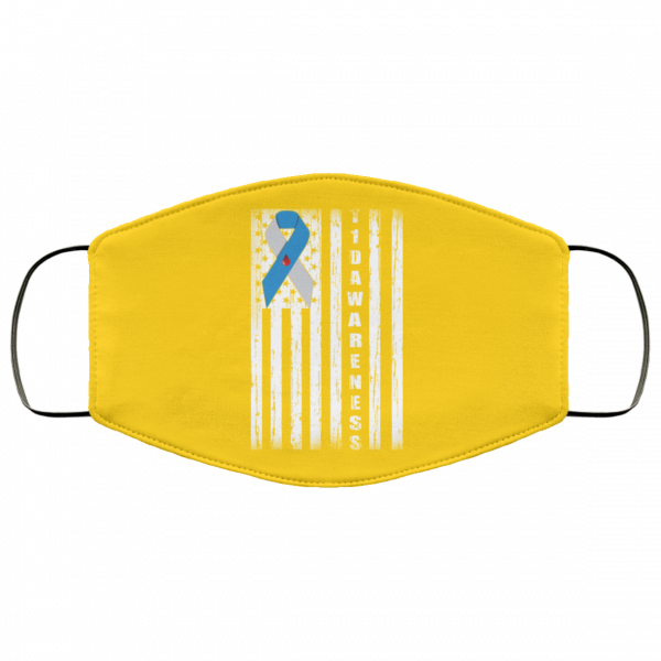 Type 1 Diabetes Awareness Support T1D Flag Ribbon Face Mask Face Mask 27