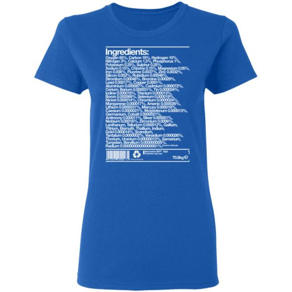 Human Ingredients Oxygen 65% Carbon 18% Hydrogen 10% Shirt, Hoodie, Tank Apparel 9